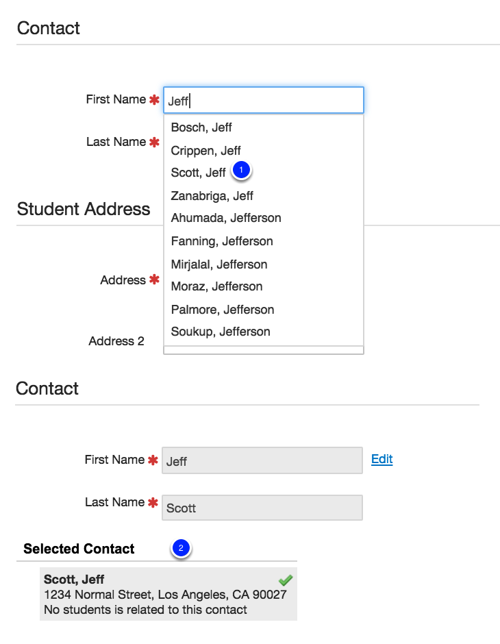 For Contacts who already have a student in the district/portal account:
