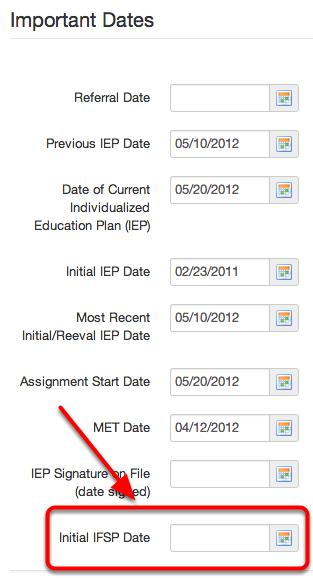 Initial IFSP Date