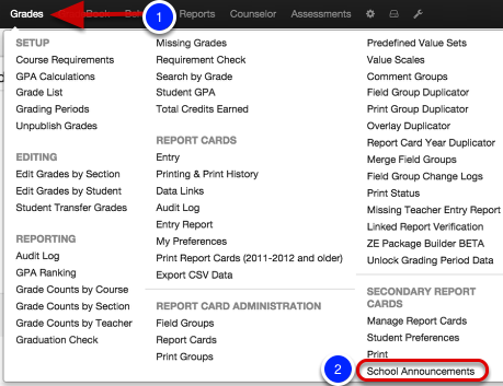 Site Admin: Adding School Announcements to a RC