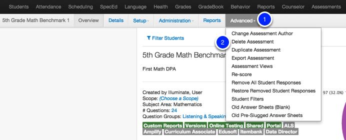 Delete an Assessment: Option 2