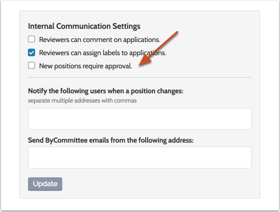 """Check """"New positions require approval"""""""