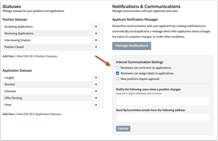 """Scroll down to """"Internal Communications Settings"""" on the Administration page"""