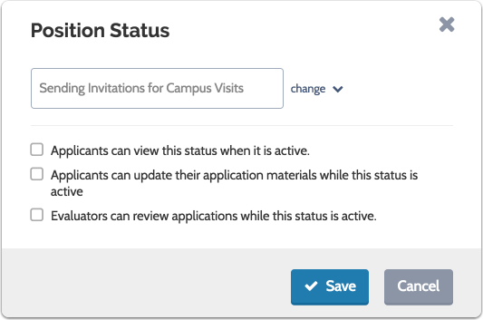 "Enter the new status, indicate the permissions connected to the status and click ""Save"""