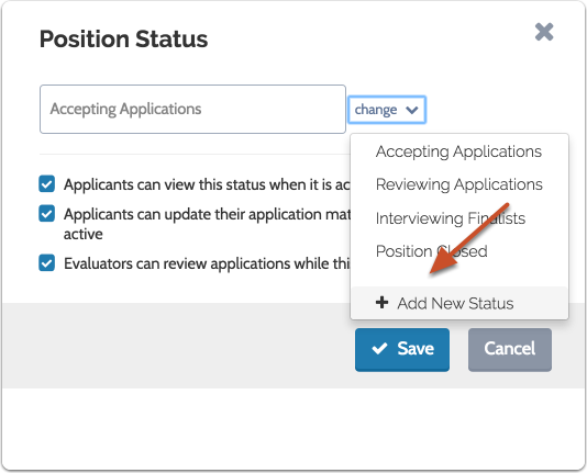 "Select ""Add New Status"" from the dropdown menu"