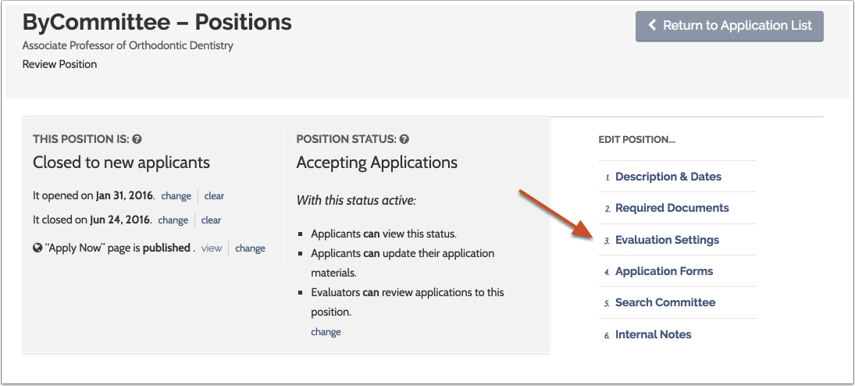 "Click ""Evaluation Settings"" to the right of the page"