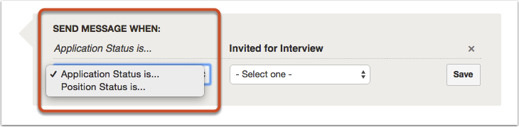 "Select either ""Applicant Status"" or ""Position Status"""