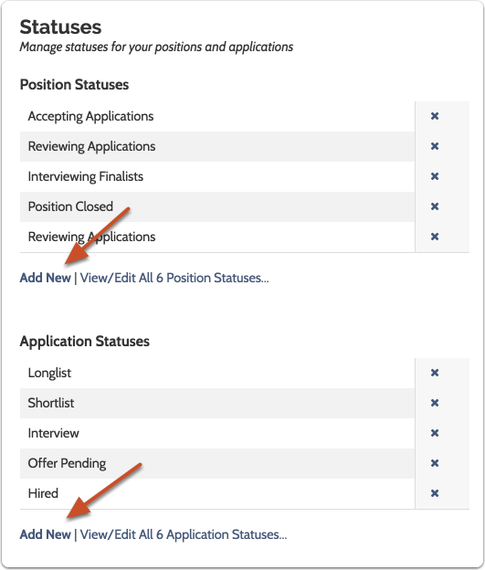"""Scroll to the """"Statuses"""" panel and click """"Add New"""" to add either a position or application status"""