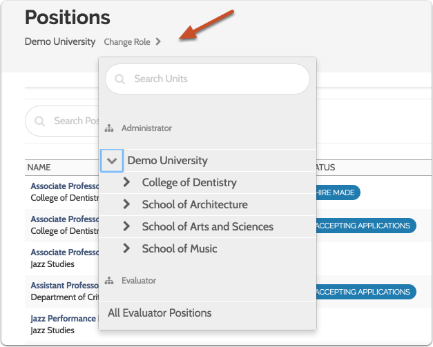 If you don't see the position you are looking for, check to make sure you are viewing positions for the correct role