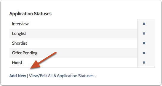 "Click ""Add New"" under the list of ""Application Statuses"""