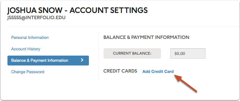"Click link labeled ""Add Credit Card"""
