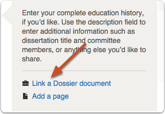 """Click """"Link A Dossier document"""""""