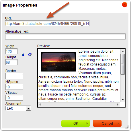 Copy and paste the URL of your image into the URL field of the dialog box