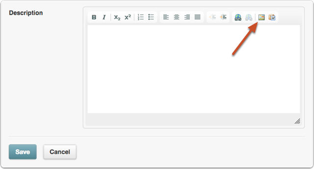 In the Description area, or anytime you see the rich text editor, click the image icon