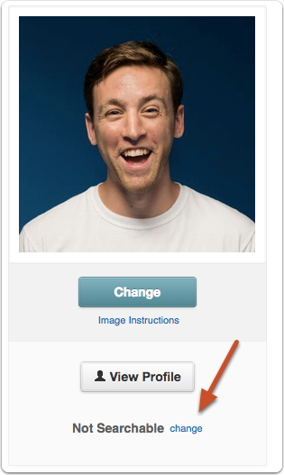 Click the change link next to the Searchable label under your profile image