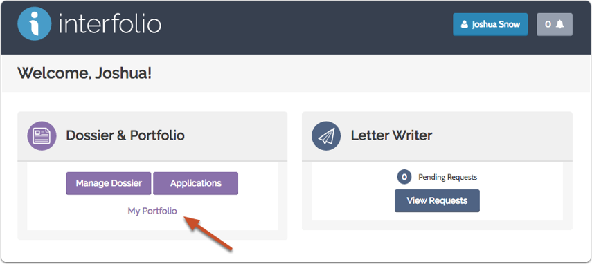 "Click ""My Portfolio"" on your Interfolio Account Dashboard"