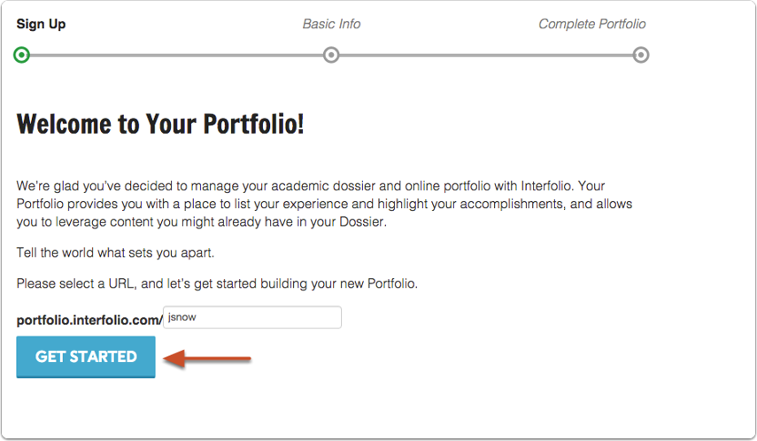 "Add a URL address for your Portfolio and click ""Get Started"""