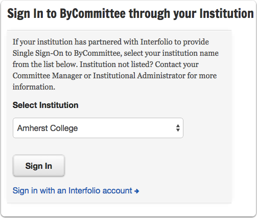 """Select your institution from the drop down list and click """"Sign In"""""""