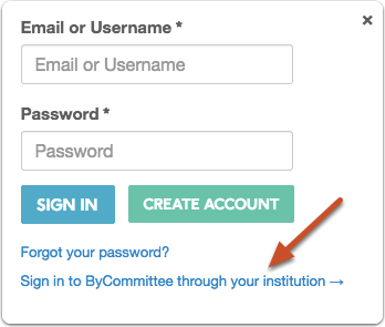 """Click """"Sign in to ByCommittee through your institution"""""""
