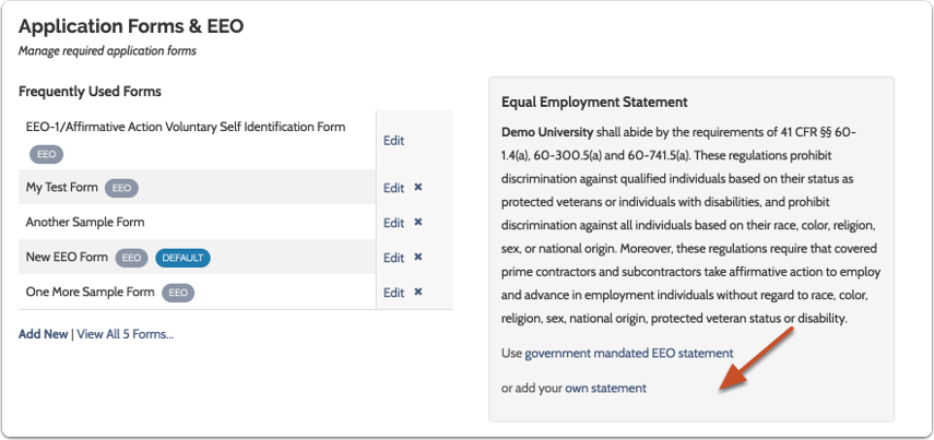 Deploy and manage standardized EEO statements