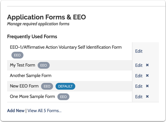 Create and and Manage Application Forms: