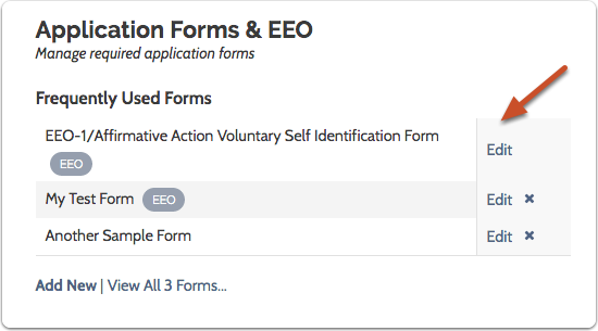 "Click ""Edit"" next to EEO-1 form to access the standard form"
