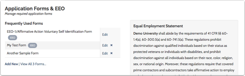 "Scroll down to ""Application Forms & EEO"" section at bottom left of the Administration page"