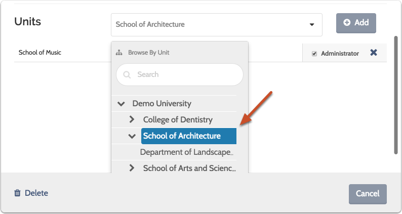 "Select a unit for the new user from the dropdown list and click ""Add"""