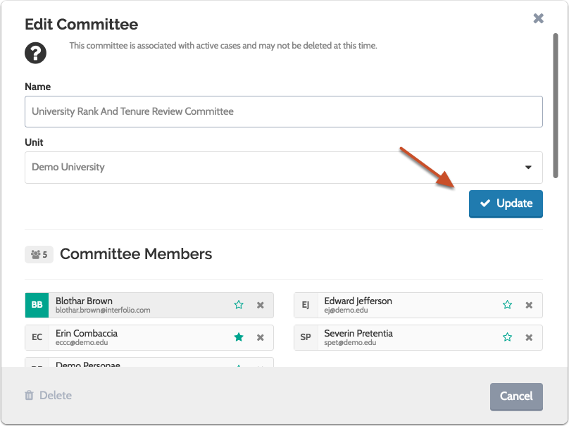 "Click ""Update"" when you are finished editing the standing committee"