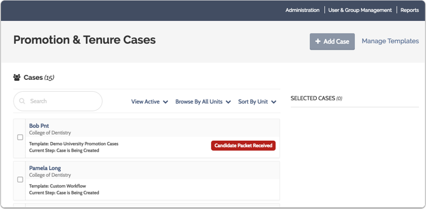 This displays the list of cases you can review or manage