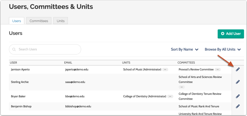 Locate the user in the list and click the pencil icon
