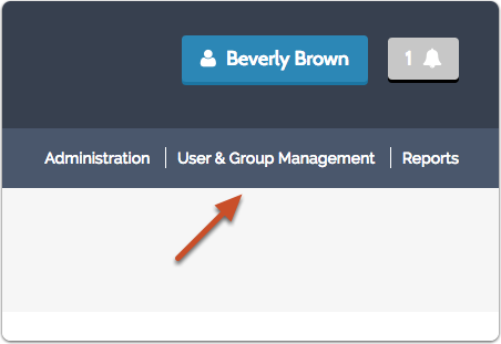 "Click on ""User & Group Management"" from the navigation menu in the upper right of most screens in the program"