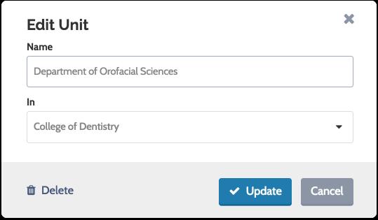 "To delete a unit, click the ""Delete"" icon and confirm your decision"