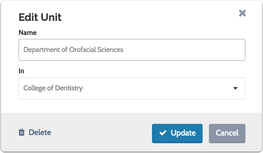 "Update the unit name, and if needed, select a new parent from the drop down list, then click ""Update"""