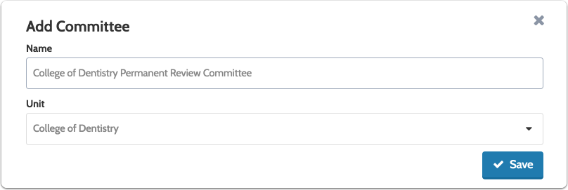 Enter the committee name, select a unit from the dropdown list, and click to save