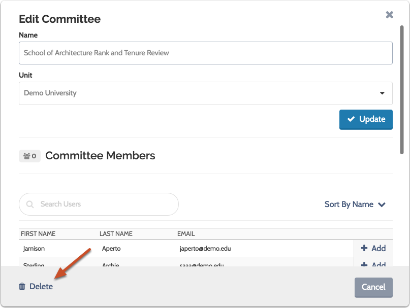 "Click the ""Delete"" at the bottom left of the window to delete the committee"