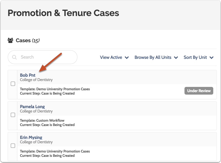 Click on the name of the case you want to view in the list of cases
