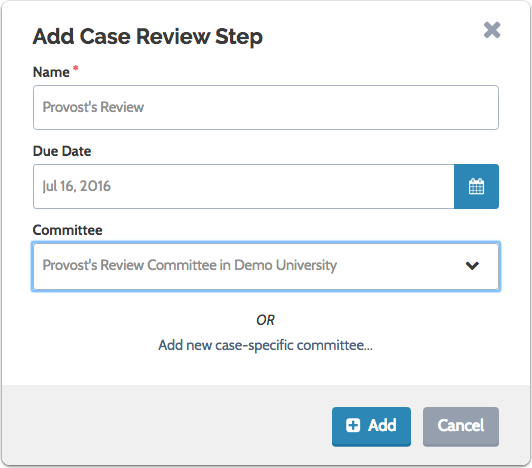 Select an existing standing or case-specific committee from the dropdown list...