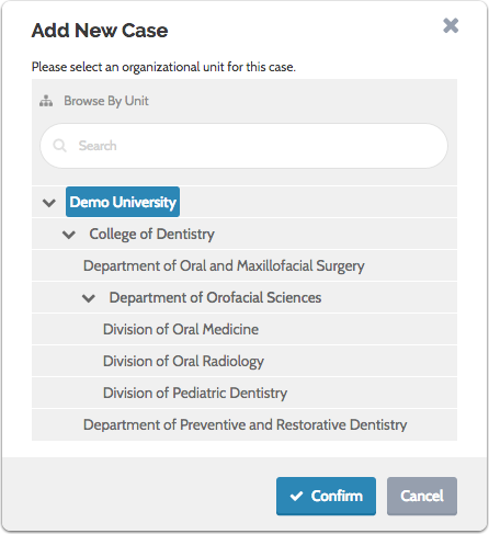"""Select a unit for the case and click """"Confirm"""""""