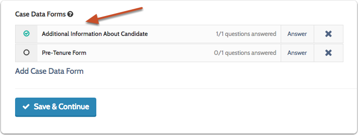 A check mark will appear when the form is completed