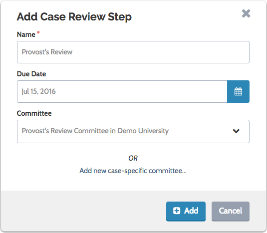 Name the case review step and assign a due date