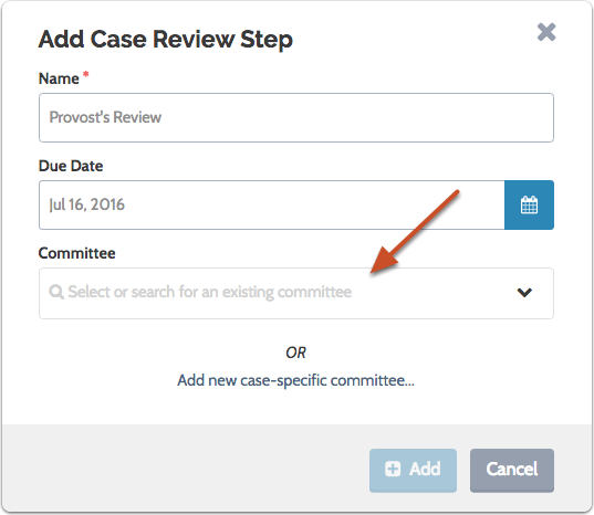 Add a committee to the case review step