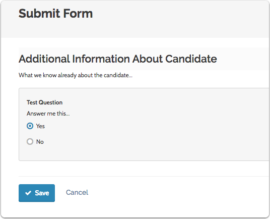 """Answer the questions on the form and click """"Save"""" when you are done"""