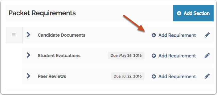 """Click """"Add Requirement"""" to add a document or form requirement to a packet section"""