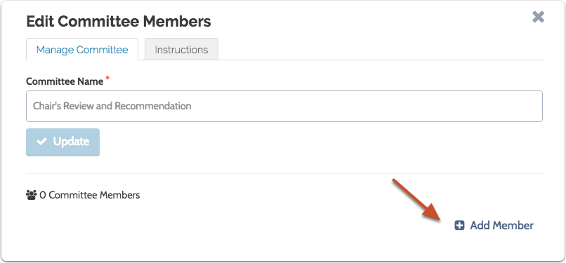 """Click """"Add Member"""" to add a user to the new case-specific committee you've created"""