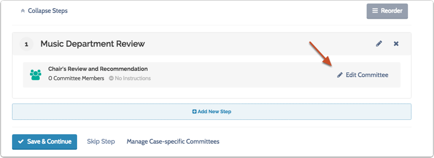 """Click """"Edit Committee"""" to add members to any case-specific committee you create"""