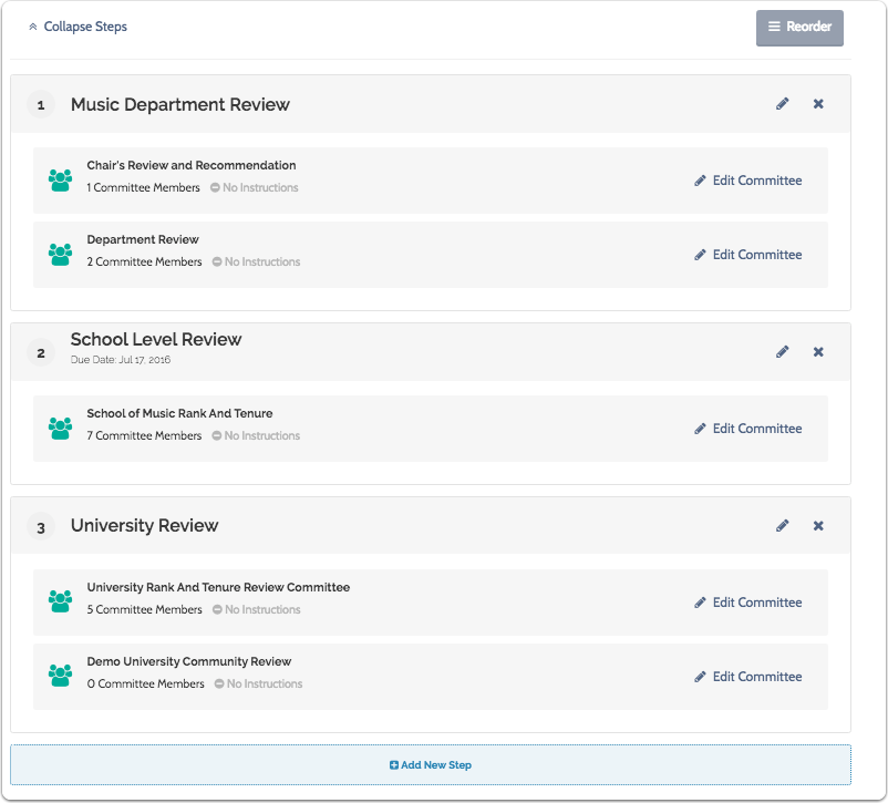 Continue adding case review steps and committees until you have created the entire workflow of the promotion case