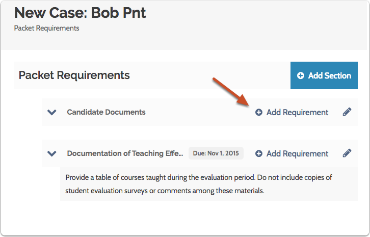 """Click """"Add Requirement"""" under the appropriate packet section"""