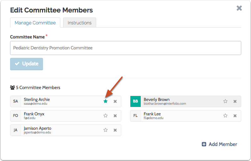 To add or remove a Committee Manager click the star next to the member's name