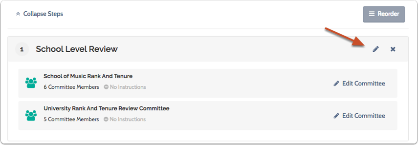 -or- Click the pencil to edit the step to which the committee has been added