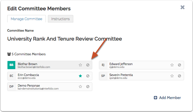 To remove a member, click the recusal icon next to the member's name